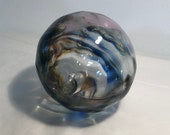 Blown Glass Ball aka Float, Witches, Friendship or Tidal ball Unique and one of a kind with a swirl of rich colours including Blue & Yellow