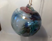 Blown glass ball, float witches, friendship or tidal ball. Handmade, swirl of colours including Blues!
