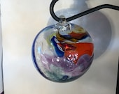 Blown glass Tidal ball aka float, witches or friendship ball. Individually handmade with a swirl of colours including Blue, Orange & Purple