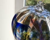 Blown glass ball, float witches, friendship or tidal ball. Handmade, swirl of colours including orange, pink, blue and clear