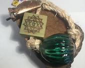 Green Heart Chakra Garden Bell.  Hanging Red Blown Glass Garden Bell with wood burned symbol handmade from Canada