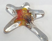 Fire Red & yellow Blown Glass Sea Star. This organic shape is handmade adding sparkle n' shine to your beach home decor!