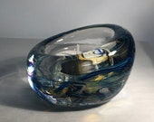 Blue and Purple Blown Glass Tea Light Candle Holder.  Beautiful soft blues marbled together.  Handmade and unique in shape & size.