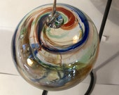 Blown glass ball, float witches, friendship or tidal ball. Handmade, swirl of colours including Blue Swirl with Red