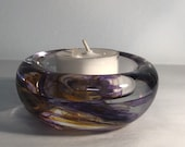 Purple and Yellow Blown Glass Tea Light Candle Holder.  Beautiful soft blues marbled together.  Handmade and unique in shape & size.