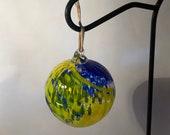 Blown glass ball, float witches, friendship or tidal ball. Handmade, swirl of colours Cobalt blue & lemon yellow