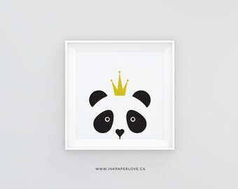 PANDA Art Print, a black & white modern and minimal design, perfect gift, for a child's bedroom or nursery decor.
