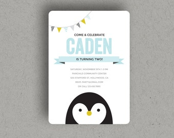 """PENGUIN PARTY INVITATION Printable, penguin birthday party, digital download file invite, at 5x7"""" size."""