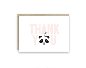 Panda Thank You Card, Folded Thank You Card, 5x3.5, A1 envelope, Thank You for coming to my panda party card, thank you for your gift..