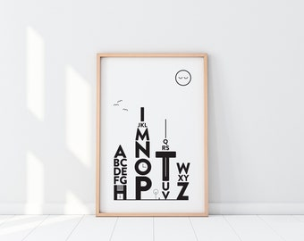 Alphabet Print   Alphabet Poster   Typography Print   Typography Wall Art   Big City Prints   City Poster   Modern Wall Art   Gift for Kids