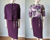 1950s New with Tag Samuel Winston Wool Crepe Dress Suit Plum with Printed Bodice 50s Pencil Dress 1950s Wiggle Dress Jacket Small
