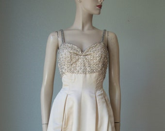 1950s Bombshell Beaded Satin Gown / Custom Made Silk Satin Gown / Starlet Worthy / 50s Couture Evening Gown / 50s Bridal Gown