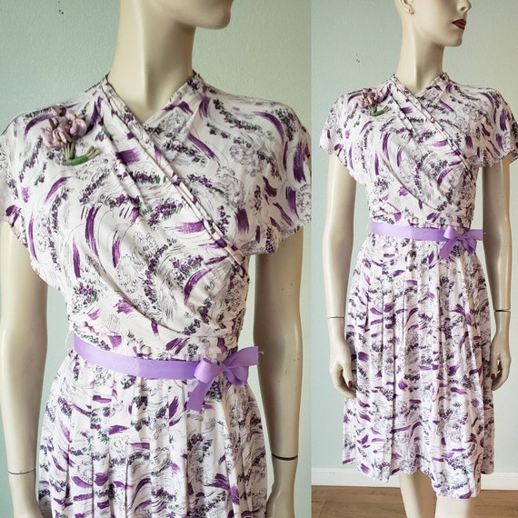 Sweet 1930s-40s Cold Rayon Novelty Print Day Dress