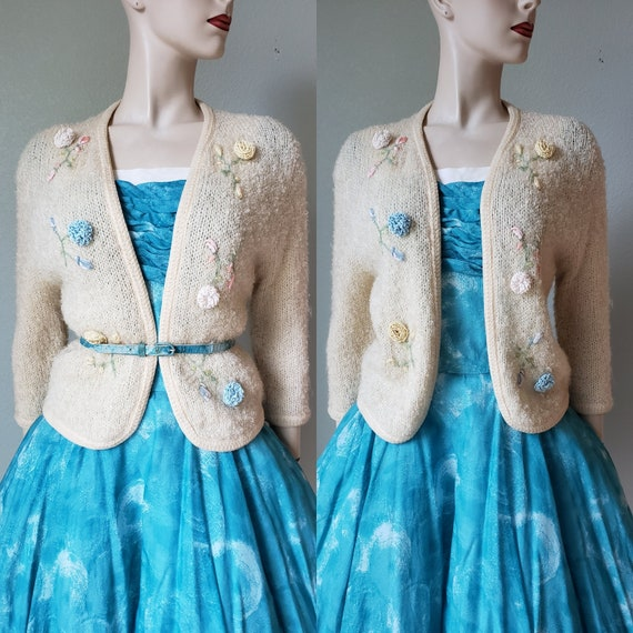 1950s Embroidered Wool Mohair Cardigan / 50s Sweat