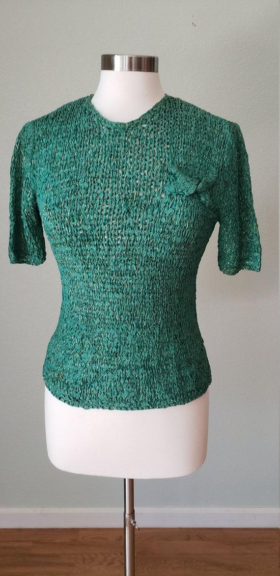 1940s Hand Knit Ribbon Top Blouse / Original Ann … - image 5