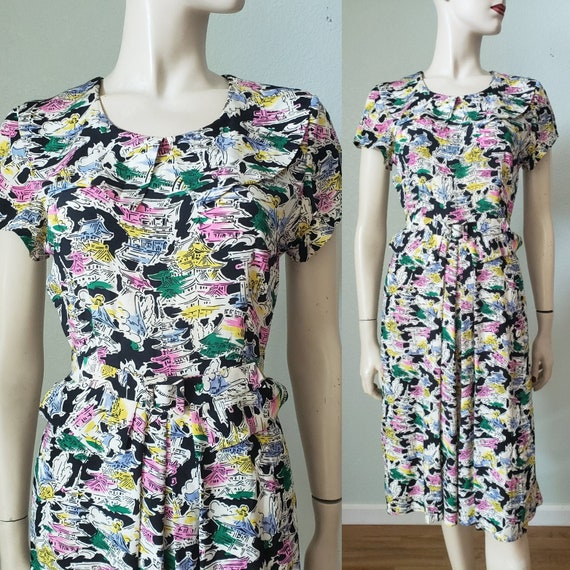 Whimsical 1940s Rayon Silk Novelty Print Dress / P