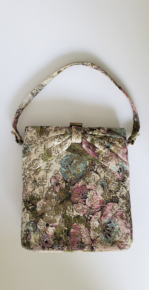 Beautiful 1950s Bark Cloth Floral Box Purse with S
