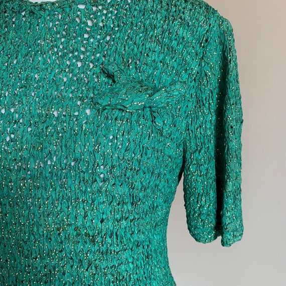 1940s Hand Knit Ribbon Top Blouse / Original Ann … - image 7