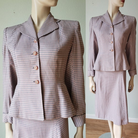 1940s Gingham Wool Skirt Suit with Details / 1940s