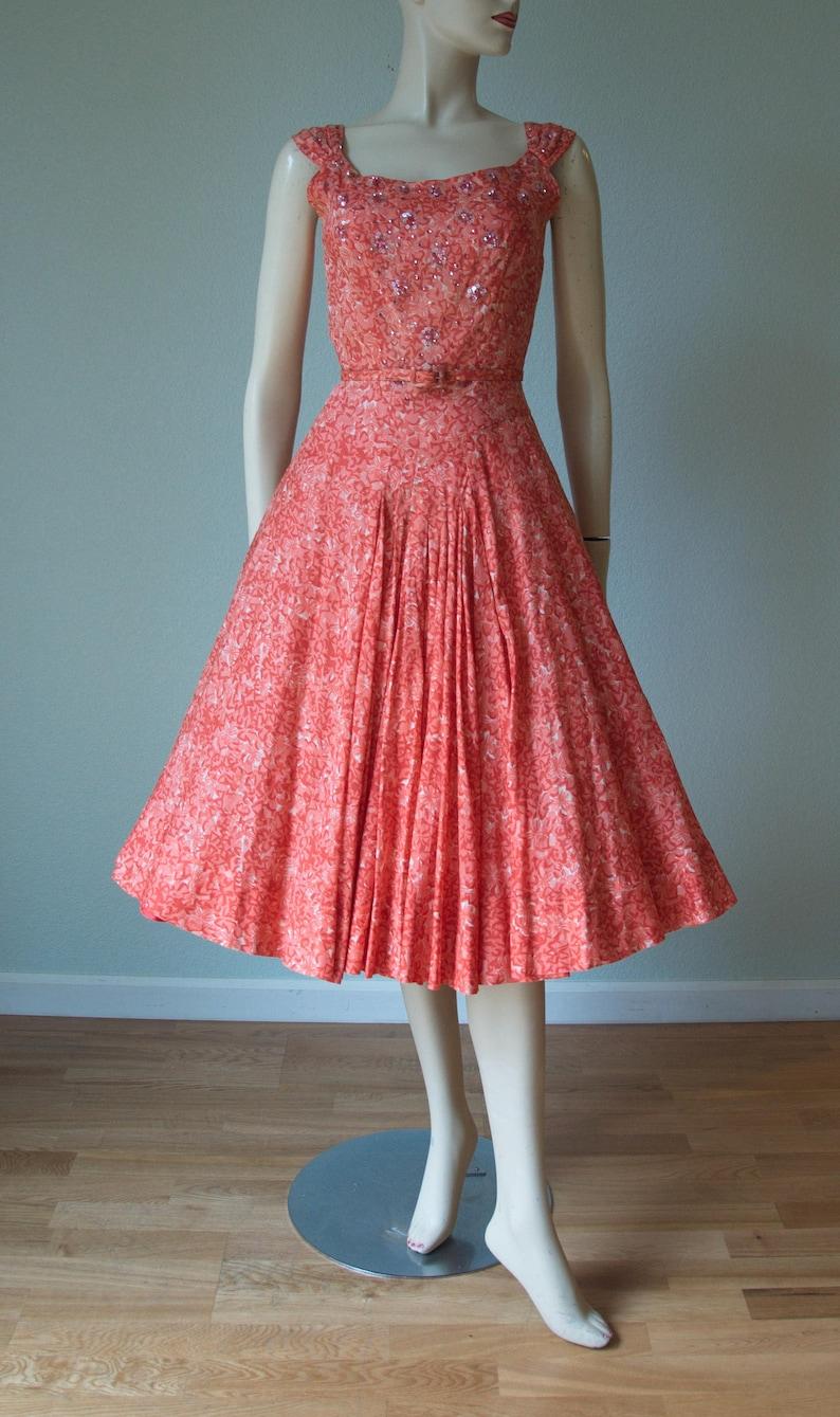 04907243 1950s Adele Simpson Cotton Gauze Summer Dress / Floral Sequin | Etsy