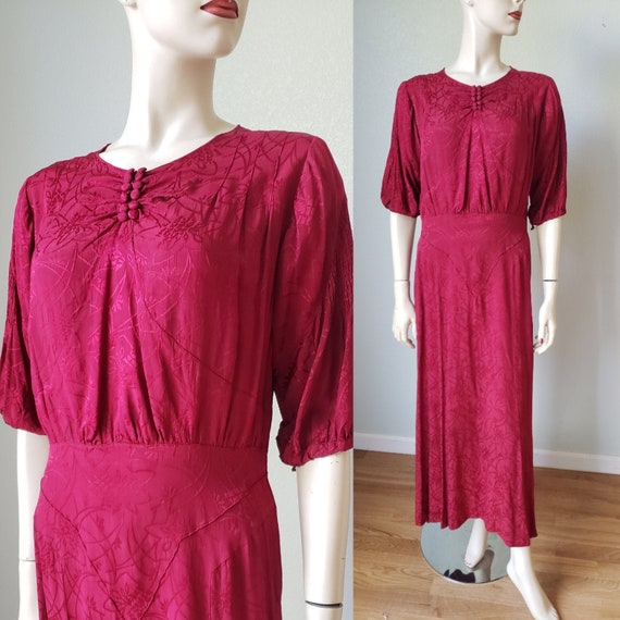 1930s Silk Crepe Damask Deco Design Dressy Dress /