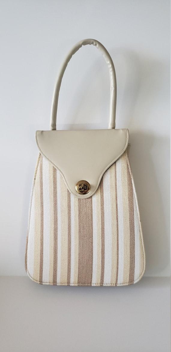 1940s Leather and Fabric Handbag / 40s Purse / 40… - image 6