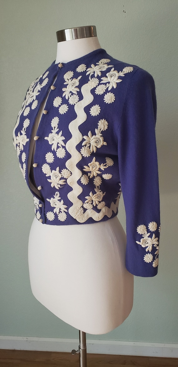 1950s Helen Bond Carruthers Embroidered Cashmere … - image 3