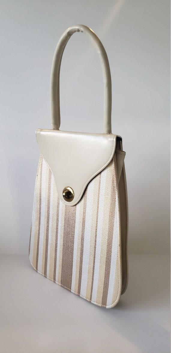 1940s Leather and Fabric Handbag / 40s Purse / 40… - image 2