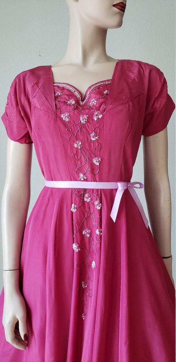 1940s Plum Berry Rayon Taffeta Party Dress / Flow… - image 4