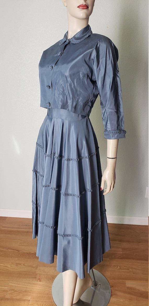 1940s Taffeta Party Dress with Jacket - 1940s Dre… - image 2