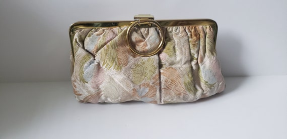 1930s-1940s Pleated Rayon Floral Clutch with Finge