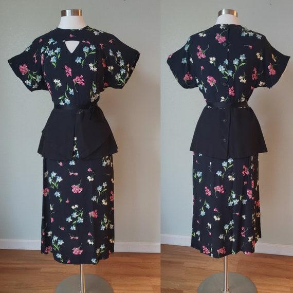 Classic 1940s Rayon Skirt and Peplum Blouse Set /