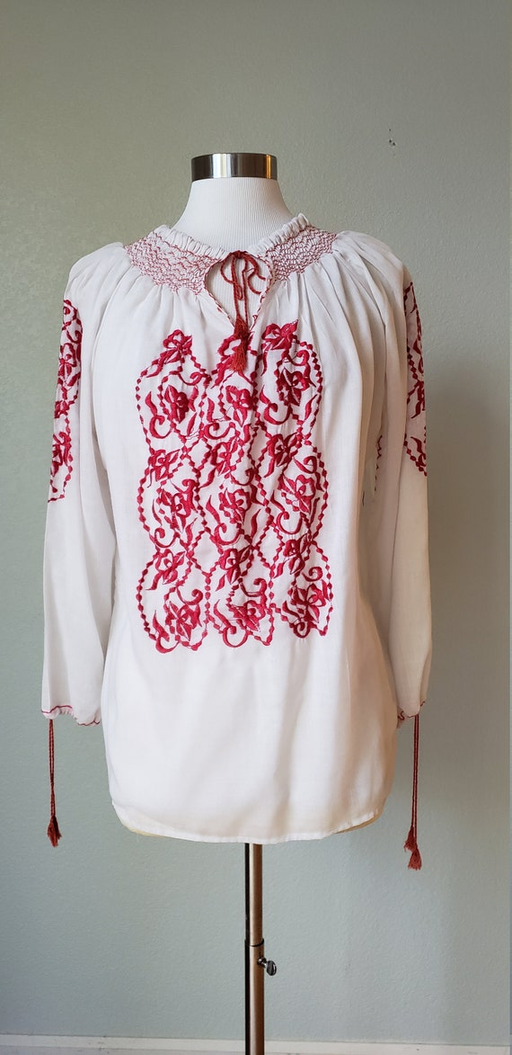 1970s Embroidered Peasant Blouse / Hippie Top / Bo