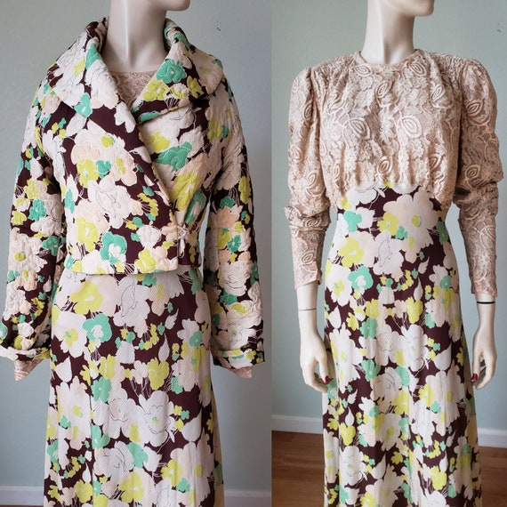 Exceptional Antique 1930s Silk Gown and Jacket Set