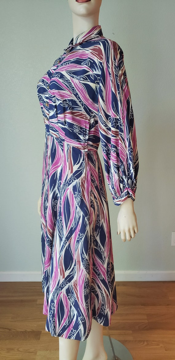 1940s-50s Rayon Shirtwaist Dress / 1940s Dress / … - image 3
