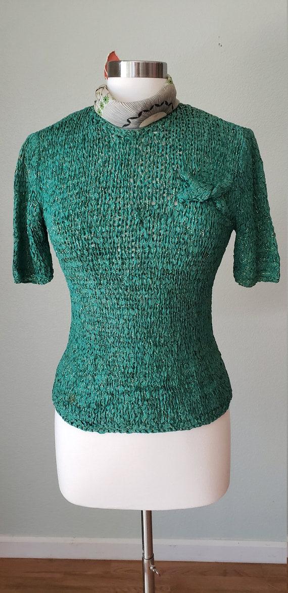 1940s Hand Knit Ribbon Top Blouse / Original Ann … - image 2