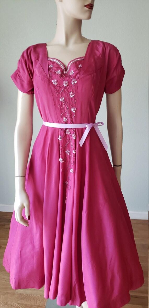 1940s Plum Berry Rayon Taffeta Party Dress / Flow… - image 3
