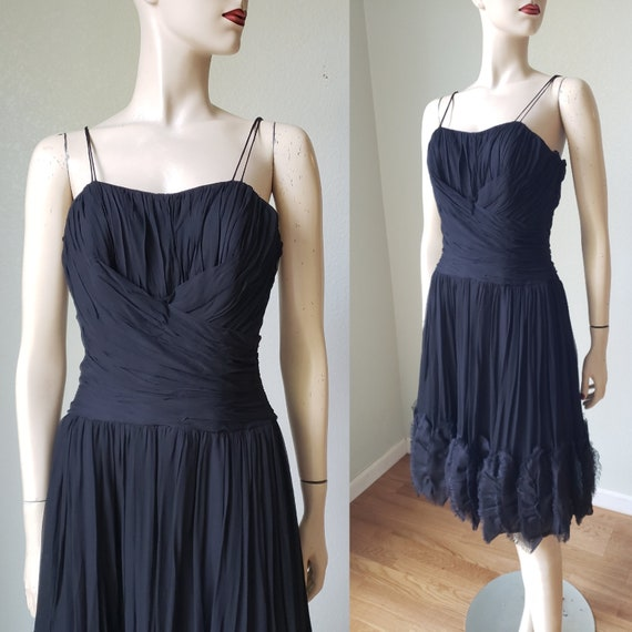 1960s Silk Chiffon LBD Cocktail Dress / ChaChaCha