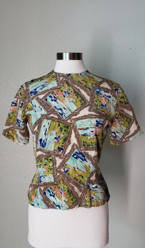 1940s Dorothy Korby Silk Blouse / Novelty Horsebac