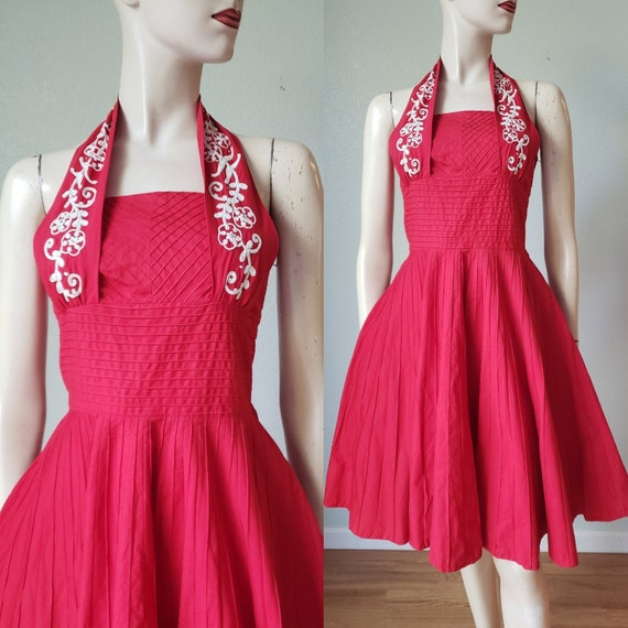 1950s Cotton Halter Dress with Pin-tucked Seaming