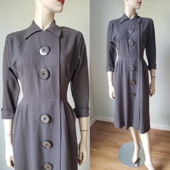 1940s Taupe Wool Tailored Day Dress with Pockets /