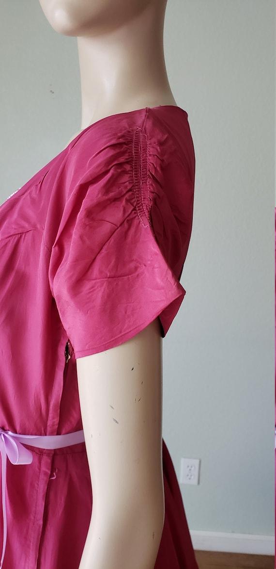 1940s Plum Berry Rayon Taffeta Party Dress / Flow… - image 9