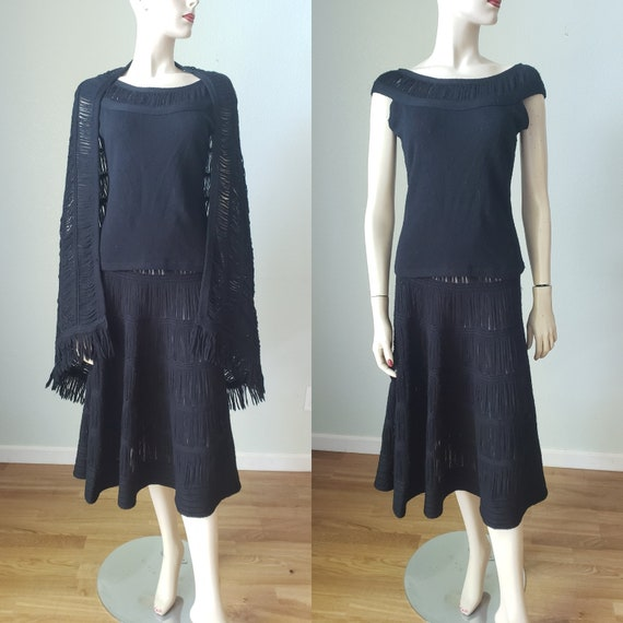 1940s Wool Knit Skirt Blouse Shawl Set / 1940s Kni