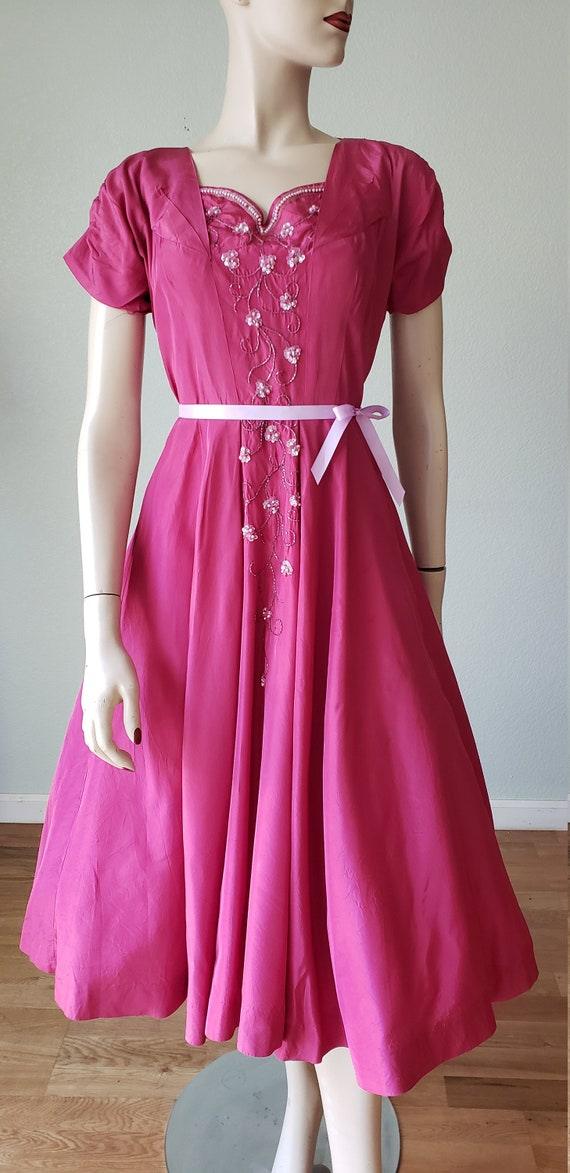 1940s Plum Berry Rayon Taffeta Party Dress / Flow… - image 7