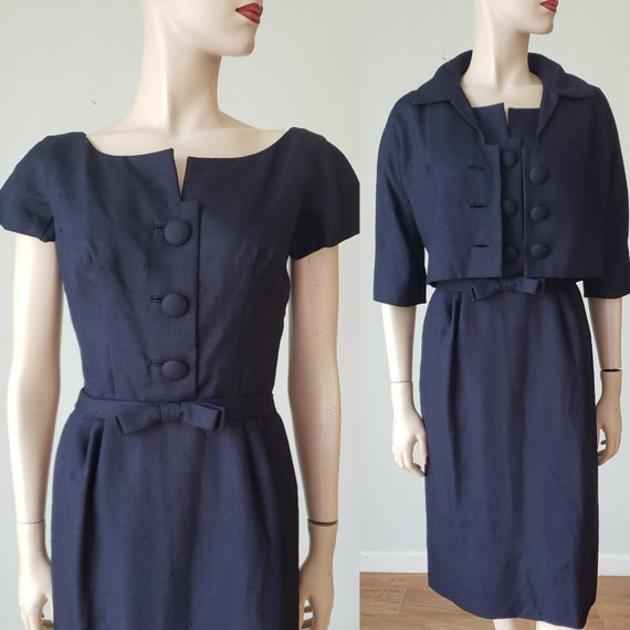 Sophisticated Uptown 1950s Tailored Raw Silk Dress