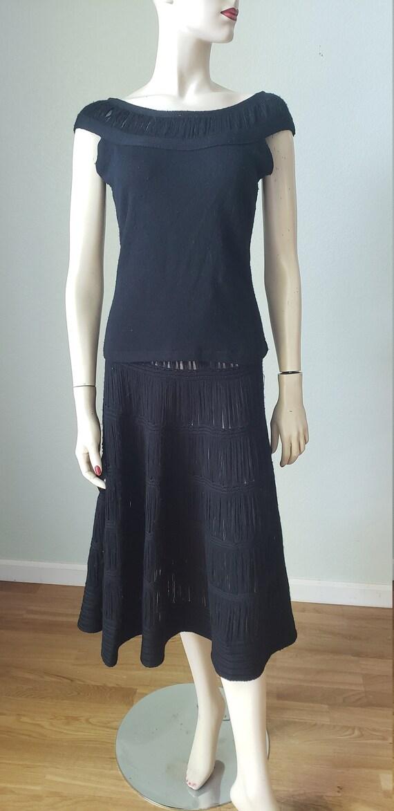 1940s Wool Knit Skirt Blouse Shawl Set / 1940s Kn… - image 4