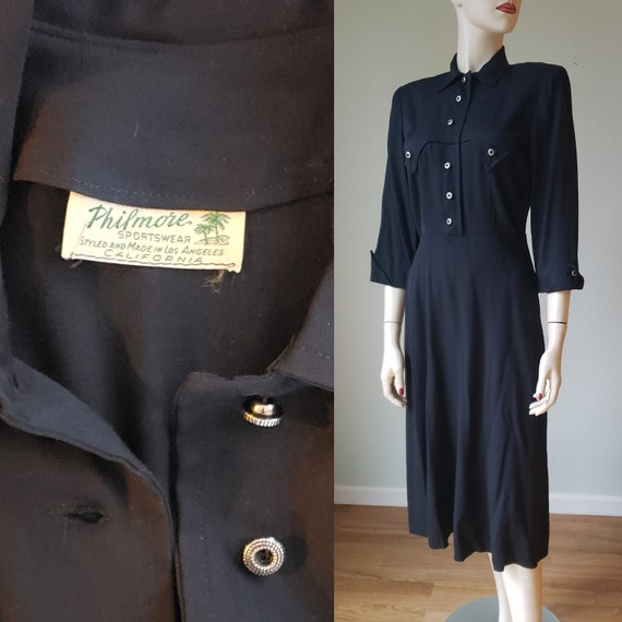 1940s Womens Western Wear Style Dress / 40s Ranch