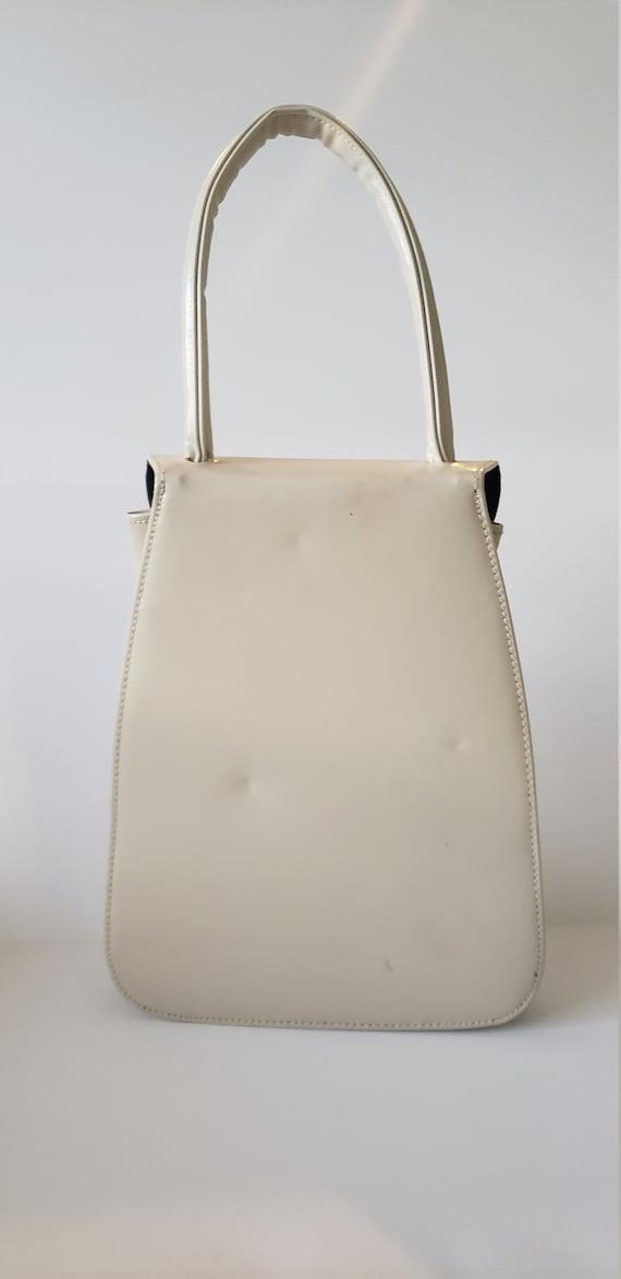 1940s Leather and Fabric Handbag / 40s Purse / 40… - image 3