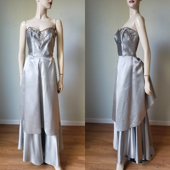 Spectacular 1950s Peggy Hunt Silk Faille Ball Gown