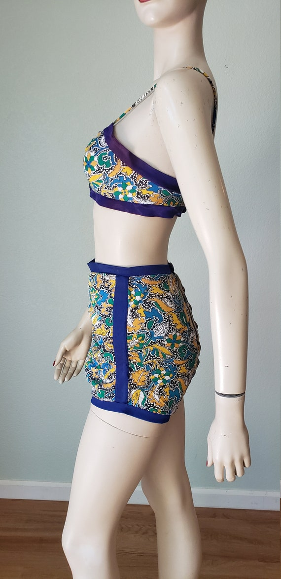 1940s Rayon Two Piece Swimsuit Bathing Suit / 40s… - image 3